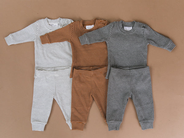 Grey + White Striped Ribbed Two-piece Cozy Set