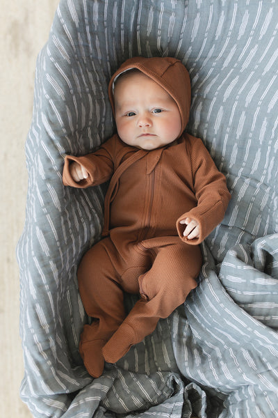 Rust Organic Cotton Ribbed Footed Zipper One-piece