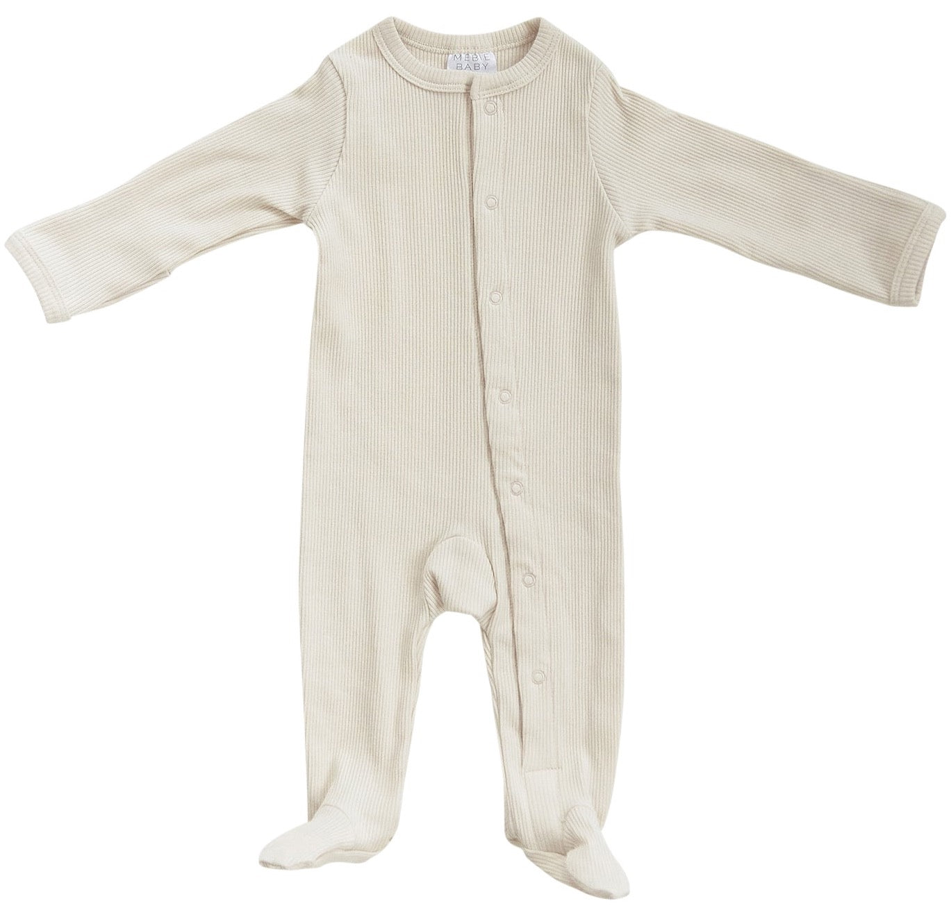 Vanilla Organic Cotton Ribbed Footed Snap one piece