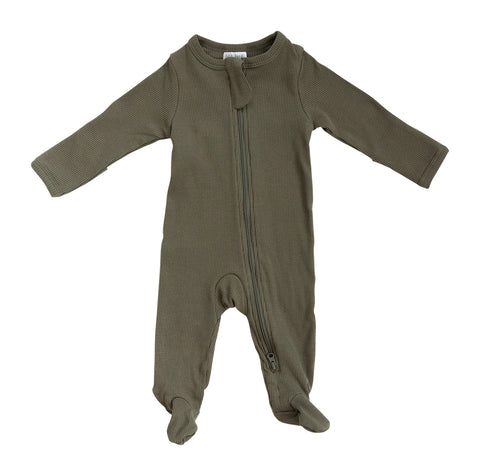 Winter Green Organic Cotton Ribbed Footed Zipper One-piece