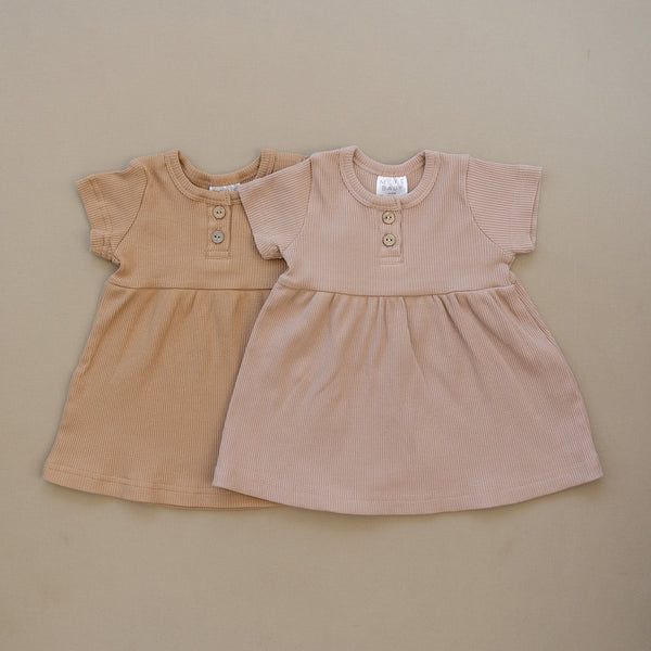 Pale Pink Short Sleeve Button Ribbed Organic Cotton Dress