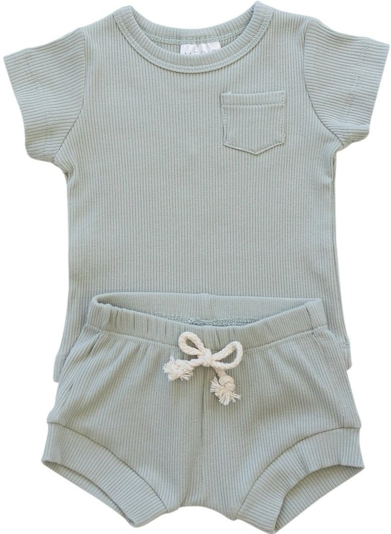 Sage Organic Cotton Ribbed Short Set