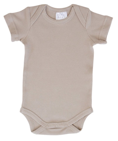 Oatmeal Organic Cotton Short Sleeve Ribbed Bodysuit