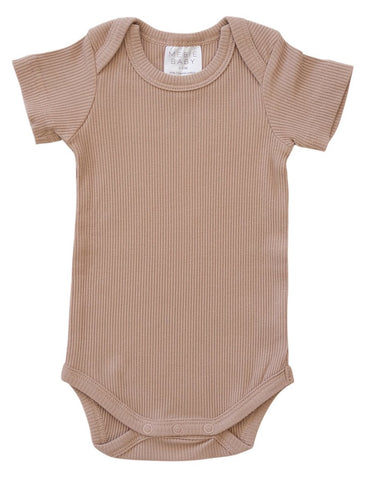 Pale Pink Organic Cotton Short Sleeve Ribbed Bodysuit