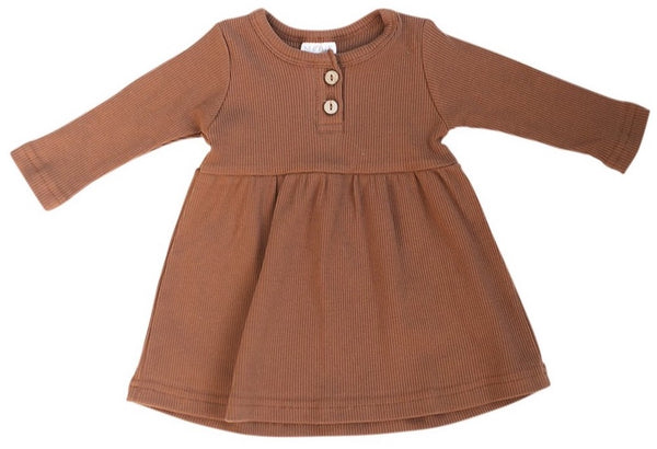 Rust Long Sleeve Button Ribbed Organic Cotton Dress