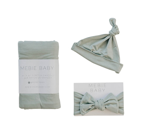 Mebie Baby Sage Stretch Swaddle Hat + Head Wrap