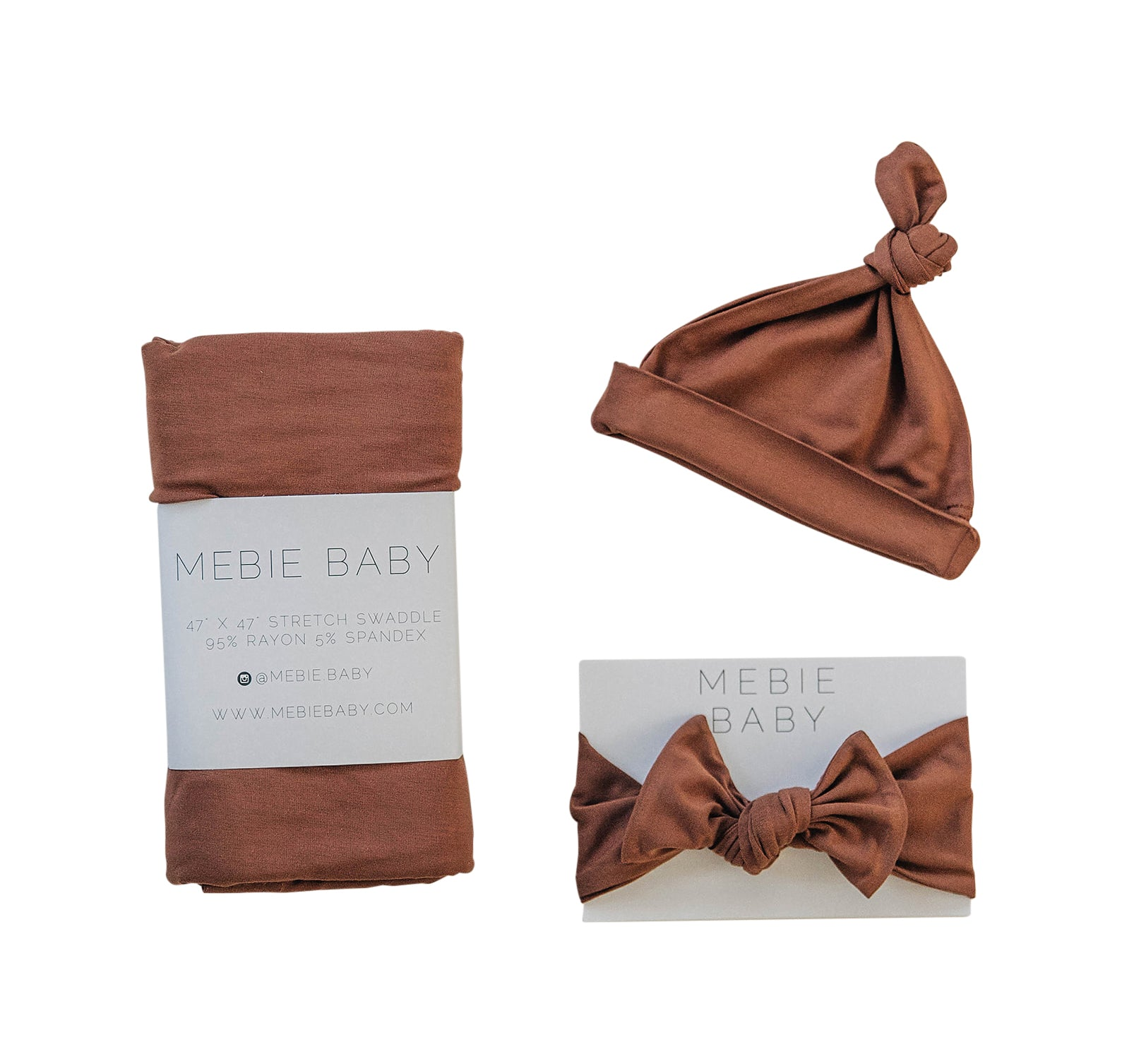 Mebie Baby Rust Stretch Swaddle Hat + Head Wrap