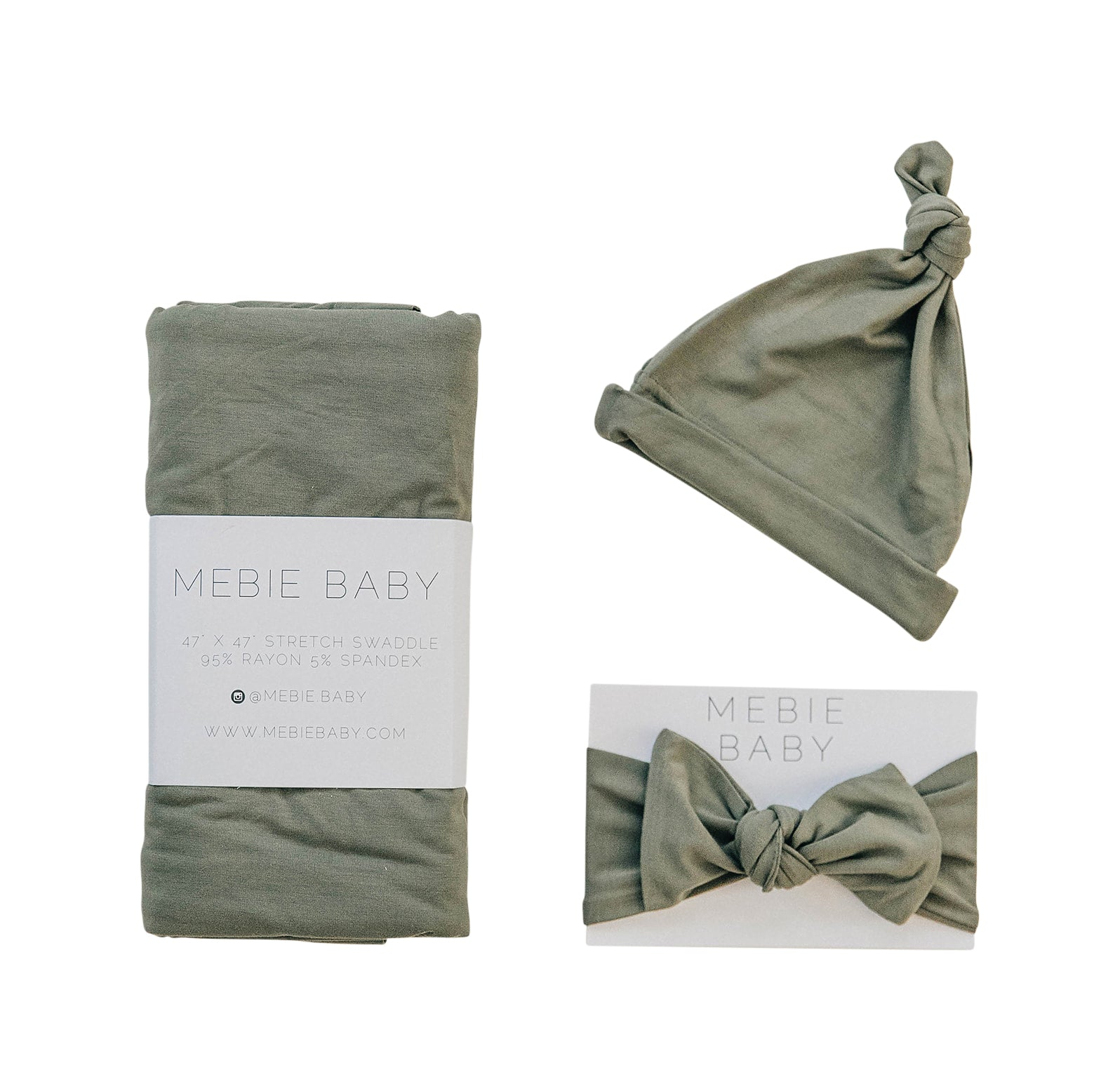 Mebie Baby Olive Stretch Swaddle Hat + Head Wrap
