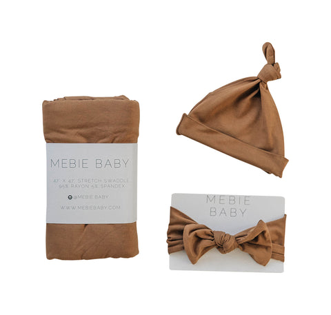 Mebie Baby Mustard Stretch Swaddle Hat + Head Wrap