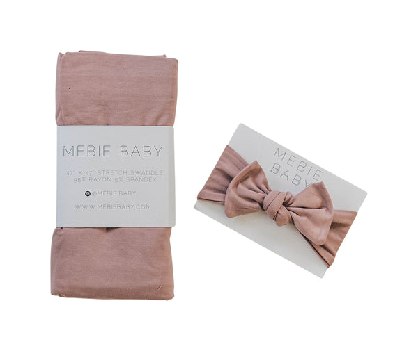 Mebie Baby Dusty Rose Stretch Swaddle + Headwrap