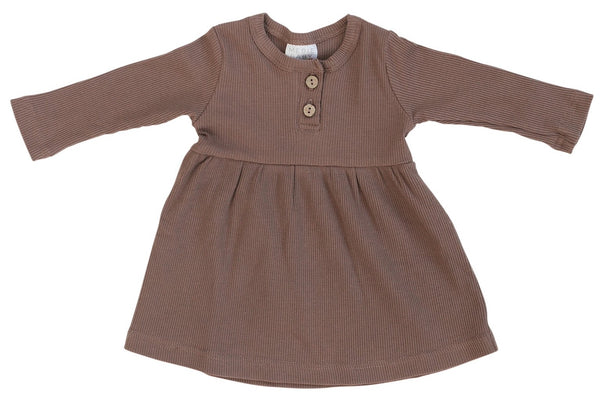 Plum Long Sleeve Button Ribbed Organic Cotton Dress