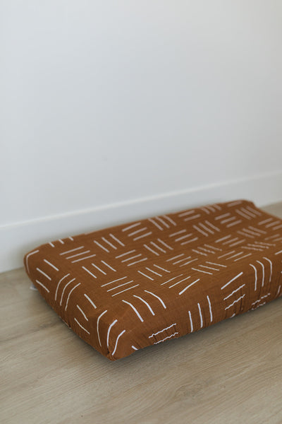 Mustard Mudcloth Changing Pad Cover