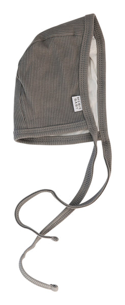 Grey Organic Cotton Ribbed Bonnet