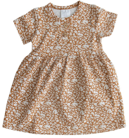 Mustard Floral Cotton Dress