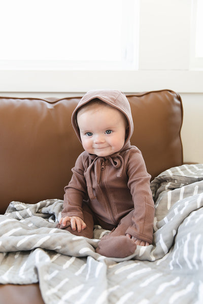 Plum Organic Cotton Ribbed Bonnet