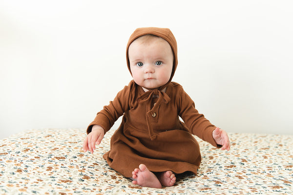 Mustard Organic Cotton Ribbed Bonnet