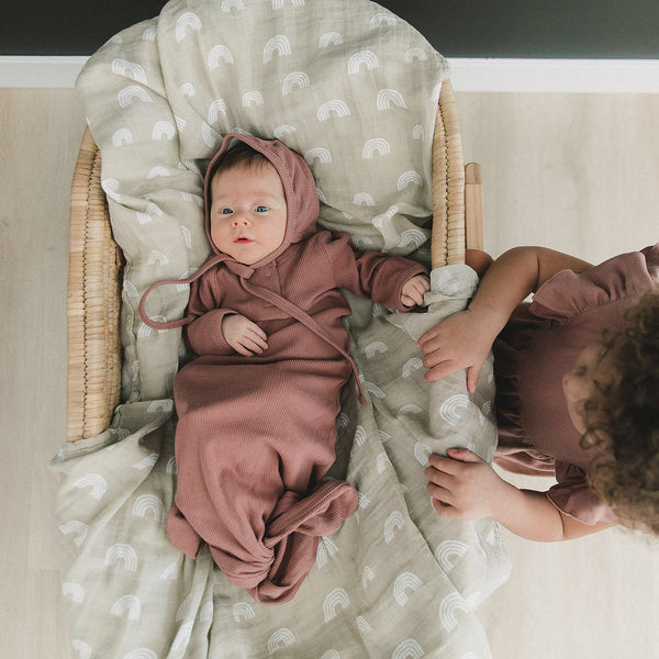 Mebie Baby Dusty Rose Organic Cotton Ribbed Knot Gown