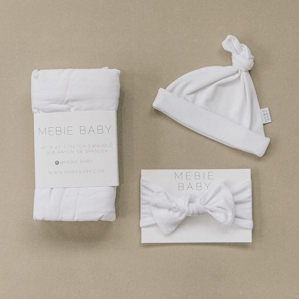 Mebie Baby White Stretch Swaddle Hat + Head Wrap