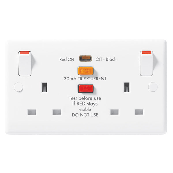 BG Nexus White 2 Gang RCD + 13A Switched Socket Outlet SP - BG822RCD