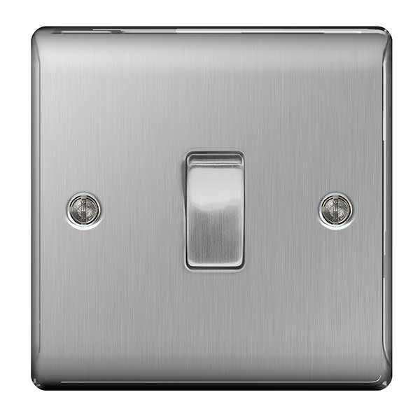 BG Nexus Brushed Steel 10A Plate Switch 1 Gang 2 Way - BG NBS12
