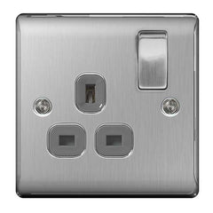 BG Nexus Brushed Steel 13A Switched Socket 1 Gang DP - BG NBS21G