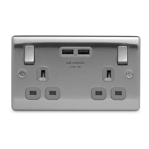 BG Nexus Brushed Steel  2 Gang 2.1A USB + 13A Switched Socket DP - BG NBS22UG