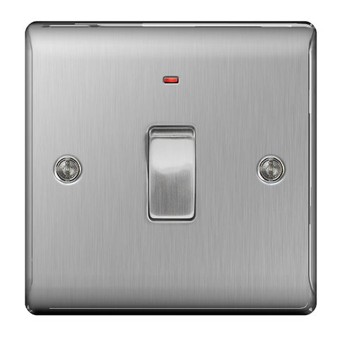 BG Nexus Brushed Steel 20A Switch + Neon - BG NBS31