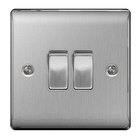 BG Nexus Brushed Steel 2 Gang 2 Way Plate Switch 10A - BG NBS42