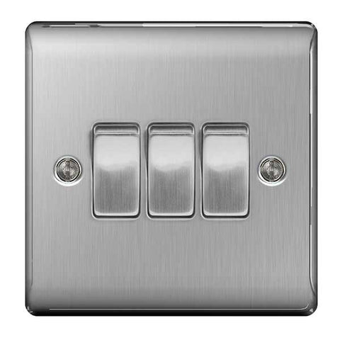 BG Nexus Brushed Steel 3 Gang 2 Way Plate Switch 10A - BG NBS43