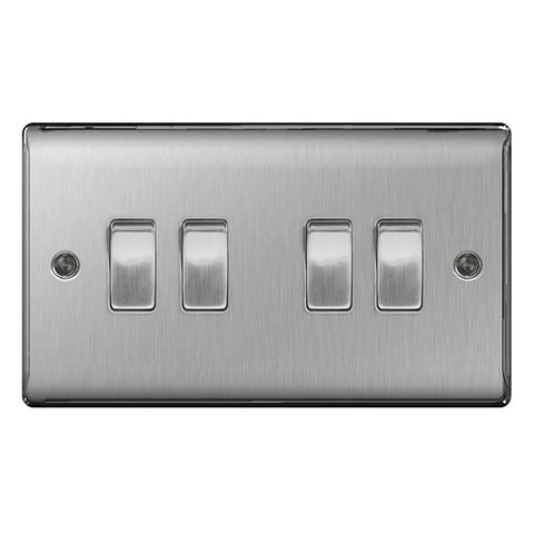 BG Nexus Brushed Steel 4 Gang 2 Way Plate Switch 10A - BG NBS44