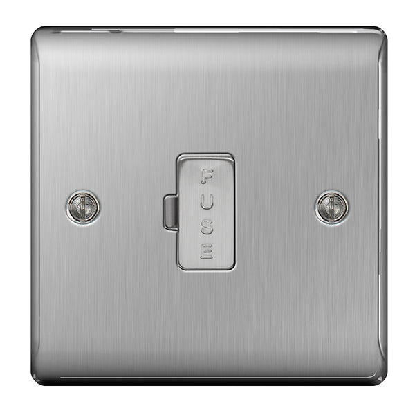 BG Nexus Brushed Steel 13A Unswitched Connection Unit - BG NBS54