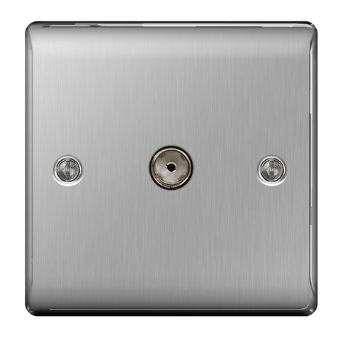 BG Nexus Brushed Steel 1 Gang Co-Axial Socket - BG NBS60