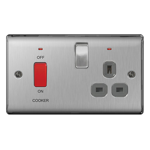 BG Nexus Brushed Steel 45A Cooker Control Unit + 13A Switched Socket + Neon - BG NBS70G