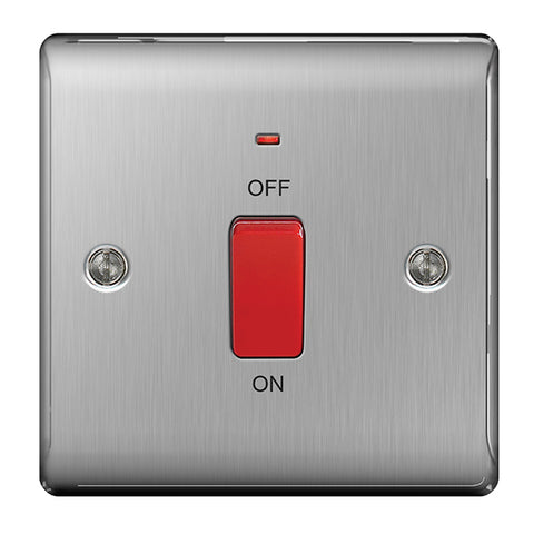 BG Nexus Brushed Steel 45A Cooker Control Unit + Neon - BG NBS74
