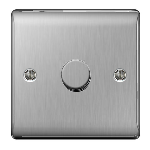 BG Nexus Brushed Steel 1 Gang 2 Way 400W Dimmer Switch - BG NBS81P