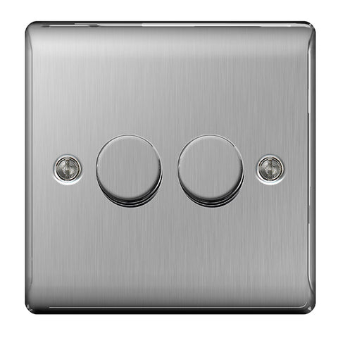 BG Nexus Brushed Steel 2 Gang 2 Way 400W Dimmer Switch - BG NBS82P