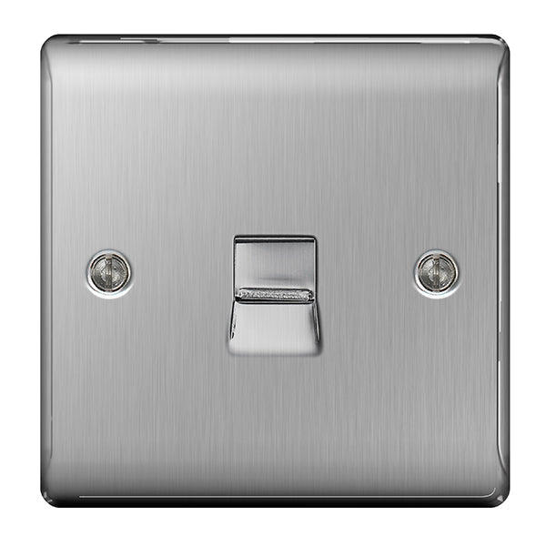 BG Nexus Brushed Steel 1 Gang Telephone Master Socket - BG NBSBTM1