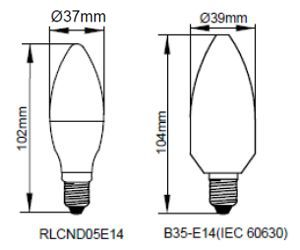 Kosnic 5W LED Lamp E14 Warm White - RLCND05E14-27-N
