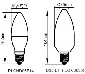 Kosnic 6W LED Lamp E14 Warm White - RLCND06E14-27-N