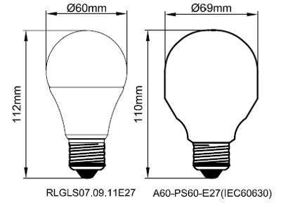Kosnic 9W LED Lamp E27 Warm White - RLGLS09E27-27-N