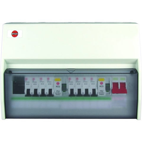 Wylex 100A 10 Way Consumer Unit with 8 MCBs - NM00953/NR