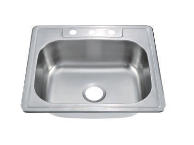 "Top Mount Single Bowl Kitchen Sink 25"" x 22"" 8""Deep KST25228"