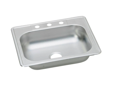 "Top Mount Single Bowl Kitchen Sink 25"" x 22""  KST25226  (ADA- 6"" Deep)"