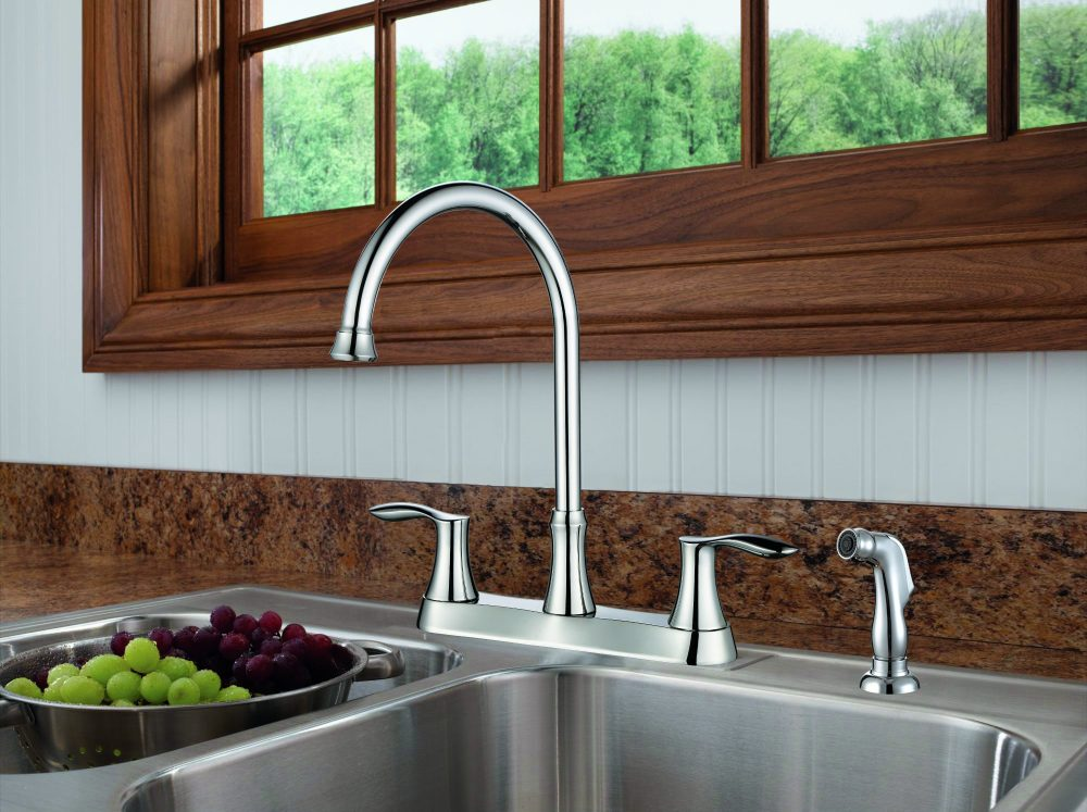 Two Handle Kitchen Faucet With Side Spray - KSK8238WS