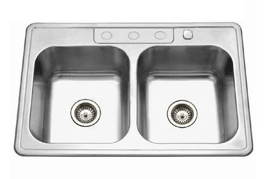 "Top Mount Double Bowl Kitchen Sink 33"" x 22"" KST332288"