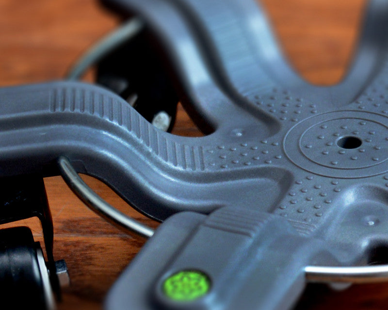 This picture of the Base of The Spyder 360™ shows it has gripping Nubs and Treads to keep your foot from slipping out. The Resistance Band Ring is made of Zinc Plated Steel to prevent rust and is a key feature to engage Resistance Bands.