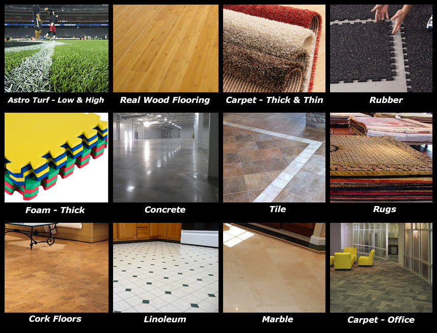 Here you can see the different types of surfaces The Spyder 360™ can work on! Astroturf, Wood, Rugs, Carpet, Rubber, Gymnastics Matts, Concrete, Tile, and other surfaces will NOT stop the Spyder 360™!