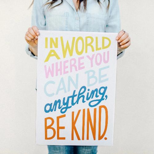 In a world where you can be anything be kind wall art home decor lumitory