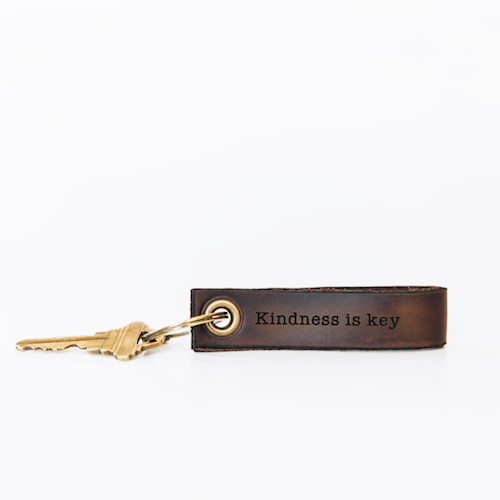 Lumitory Kindness is Key Handcrafted Leather Keychain With Gold Ring