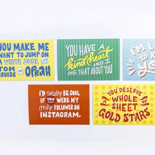 5 Colorful Postcard Designs from the Kindness Matters Gathering Box by Lumitory